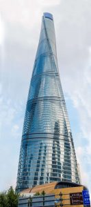 The Shanghai Tower against a blue sky (Panoramic)